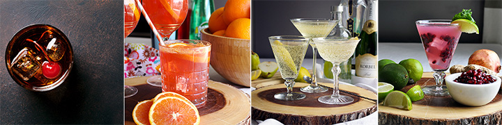 Four recommended Cocktail recipes.