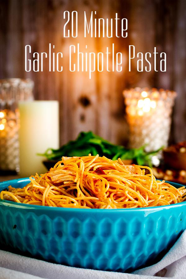 A bowl of Garlic Chipotle Pasta.