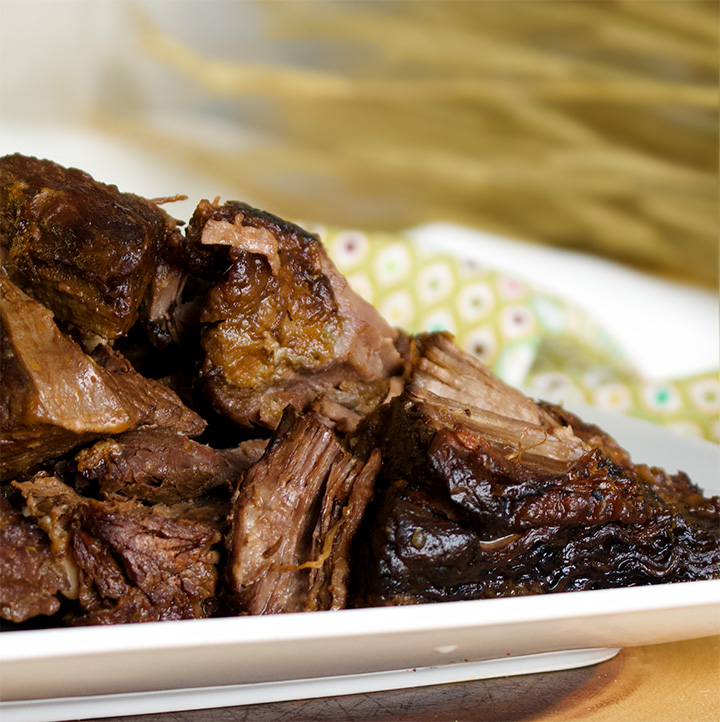 A plate of slow cooker tri-tip steak.