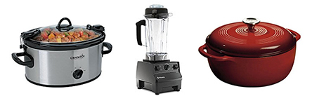 Crock Pot Slow Cooker, Vitamix, and a Dutch Oven