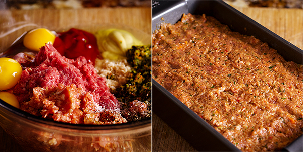 Mixing meatloaf ingredients and shaping it in a pan before baking.