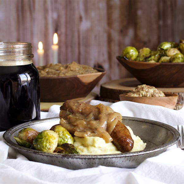 Irish bangers and mash with onion gravy