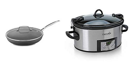 Non-stick skillet with a lid and Crock Pot Slow Cooker with timer.