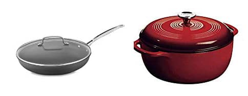 Non-stick skillet and enameled cast iron dutch oven.