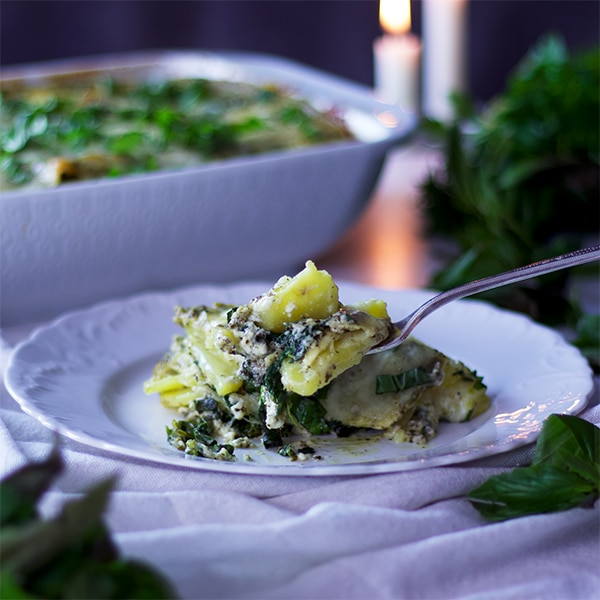 Taking a bite of Green Tea Pesto Potato Lasagna