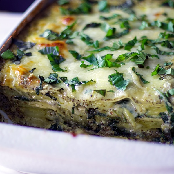Green Tea Pesto Potato Lasagna