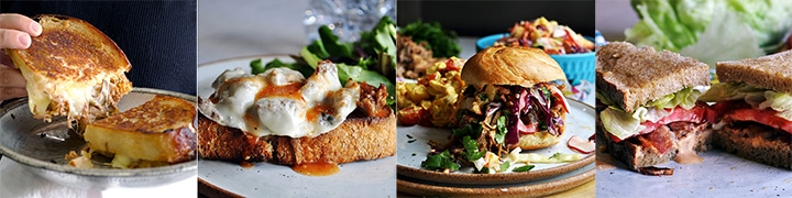 More great sandwich recipes: BBQ Beef Grilled Cheese Sandwiches, Sausage and Provolone Sandwiches, Pulled Pork Sandwiches with Pineapple Coleslaw, Perfect BLT Sandwiches