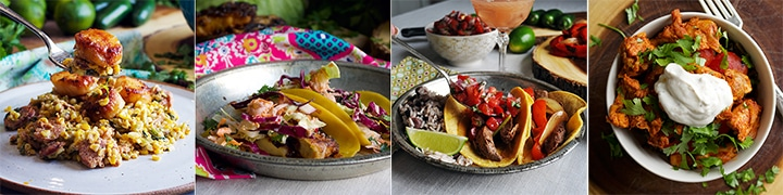More great recipes: Pan Seared Scallops with Chorizo, Green Chilies, and Creamy Roasted Corn, Mahi-Mahi Fish Tacos with Pineapple Coleslaw, Grilled Flank Steak Tacos with Pico de Gallo, Paprika Chicken and Rice Bowls