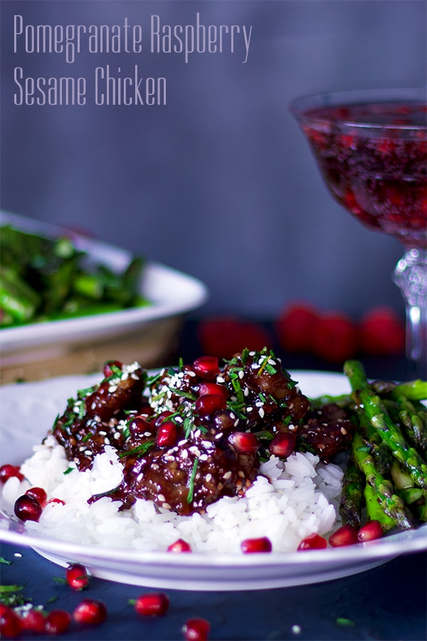 Pomegranate Raspberry Sesame Chicken