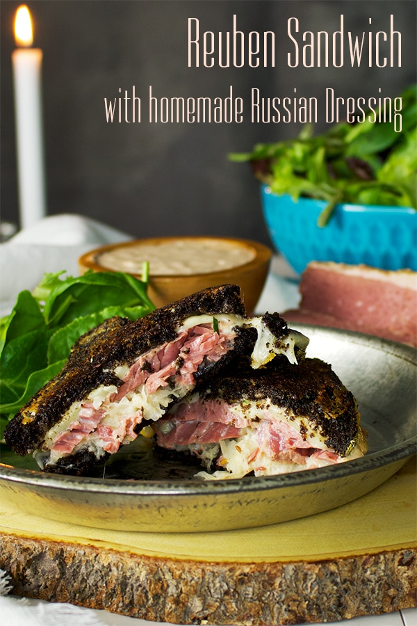 A reuben sandwich with corned beef and homemade Russian dressing.