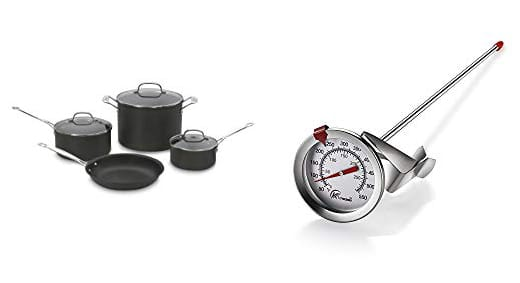 Cookware set and deep fry thermometer