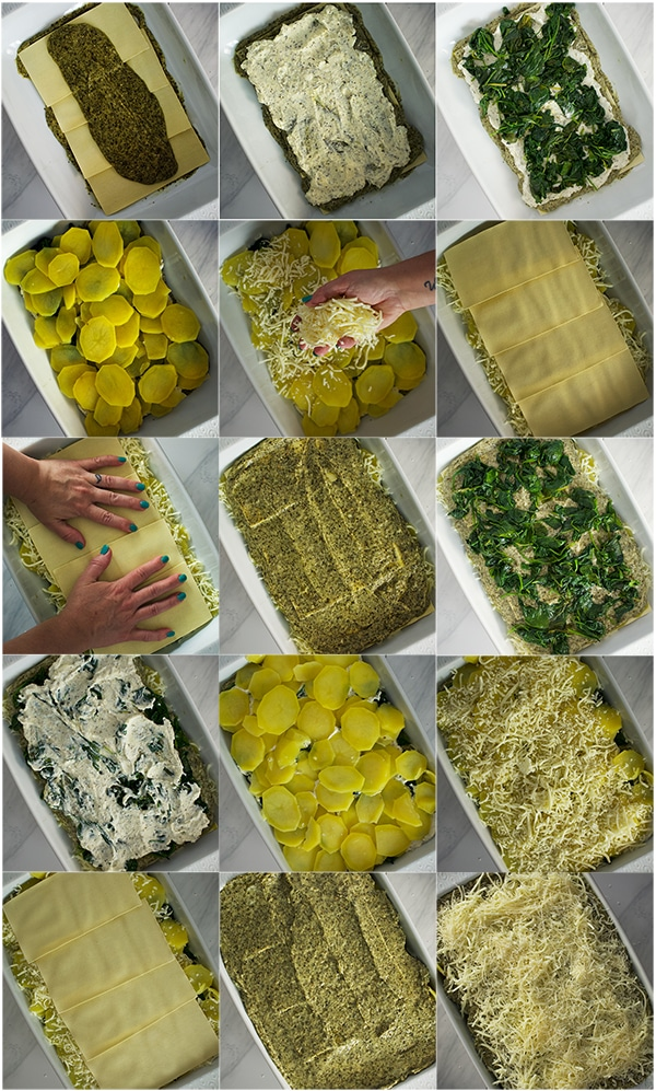 Building the layers of Green Tea Pesto Potato Lasagna with Cheese and Spinach