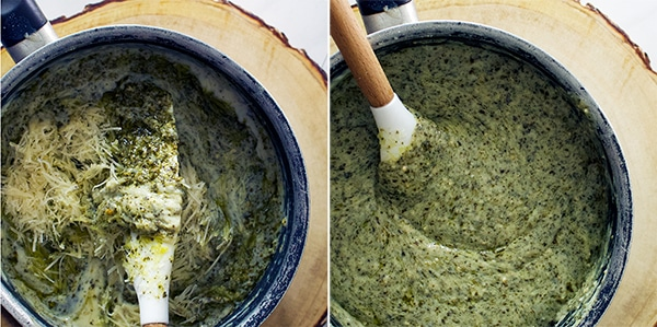 Making béchamel sauce with parmesan cheese and green tea pesto,