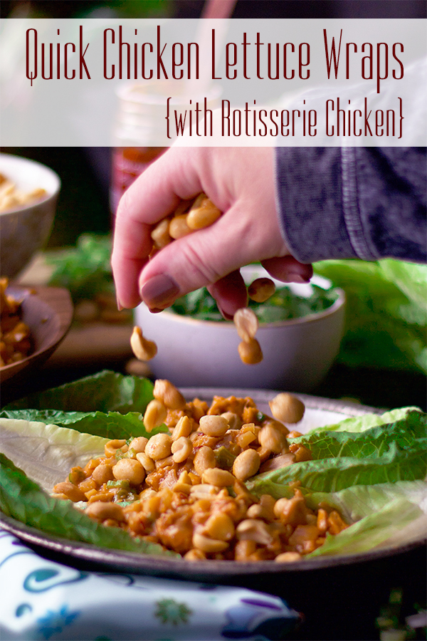 Sprinkling peanuts over chicken lettuce wraps.
