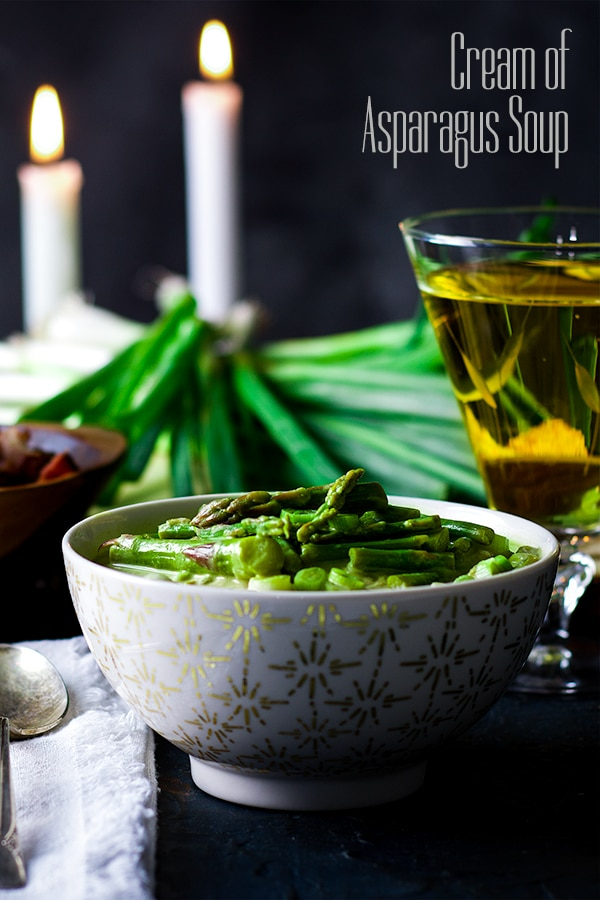 A bowl of Cream of Asparagus Soup.