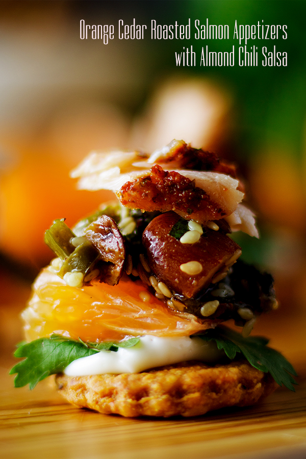 An Orange Cedar Roasted Salmon Appetizer on a Cheddar Cracker with Almond Chili Salsa