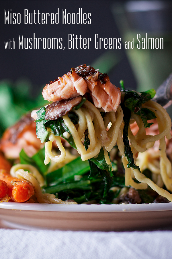 Taking a bite of Miso Buttered Pasta with Salmon
