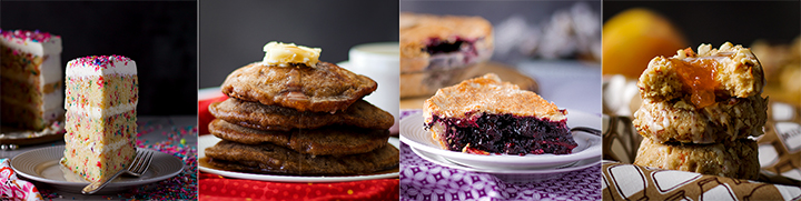 Baking Recipes: Funfetti Cake with Classic American Buttercream, Apple Cinnamon Pancakes, How to Make the Perfect Blueberry Pie, Peach Almond Thumbprint Cookies