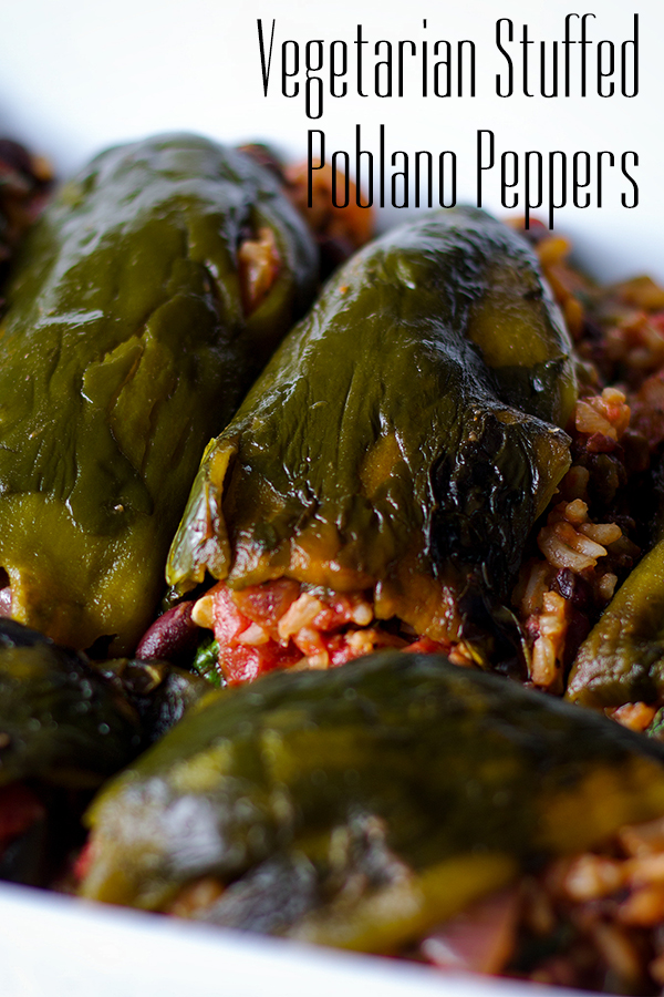 A pan of vegetarian stuffed poblano peppers.