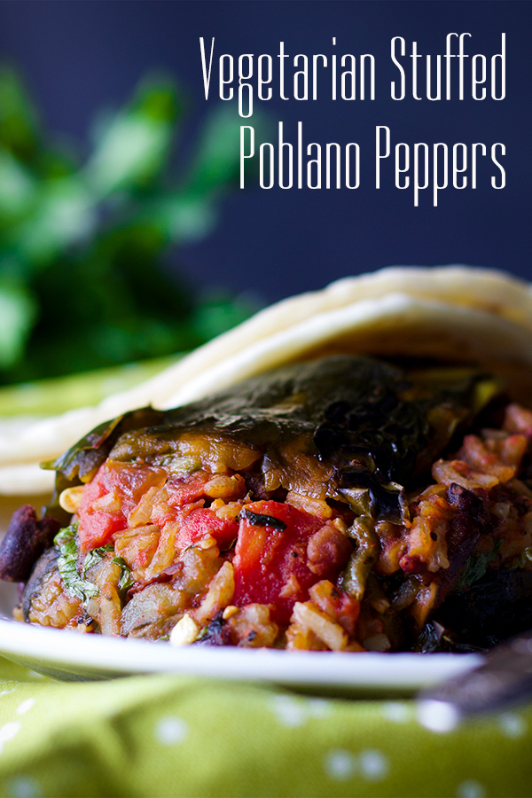 A stuffed poblano pepper with enchilada sauce.