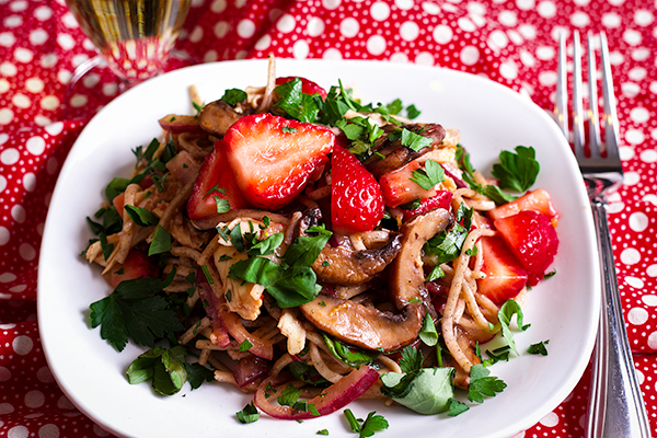 Mushroom & Noodle Stir Fry with Strawberries & Chicken or tofu.