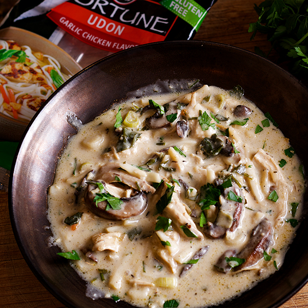 A bowl of Creamy Chicken and Mushroom Soup.