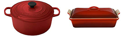 Dutch oven and ceramic baking dish from Le Creuset