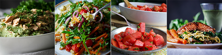 More delicious recipes: Potato Salad with Creamy Green Sauce, and Tuna Couscous Salad with Veggies and Agrodolce, Watermelon Salad with Chili and Lime, Miso Buttered Pasta and Salmon