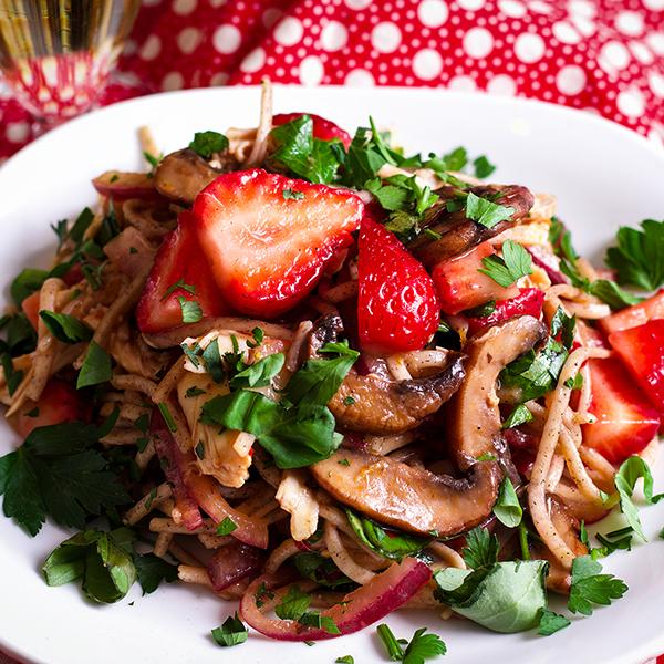 Mushroom & Noodle Stir Fry with Strawberries & Chicken or tofu.
