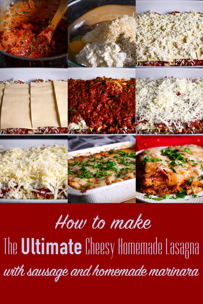 A series of photos showing how to make homemade lasagna.
