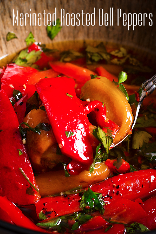 A bowl of marinated roasted bell peppers.