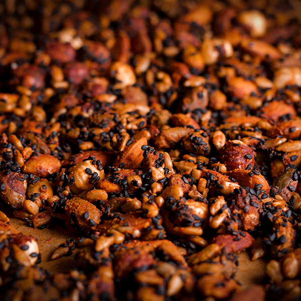 A tray of Yemenite Ja'ala, roasted, spiced nut and seeds.