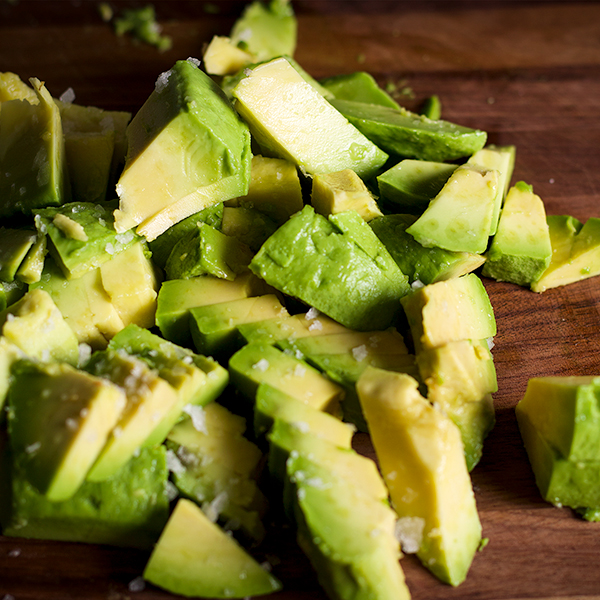 A pile of chopped avocados.