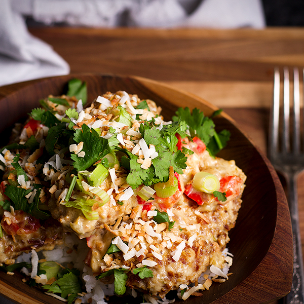 A bowl of rice and Crispy Coconut Lime Chicken.