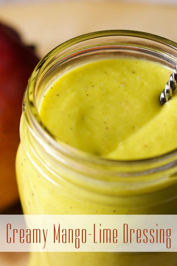 A jar of homemade mango lime dressing.