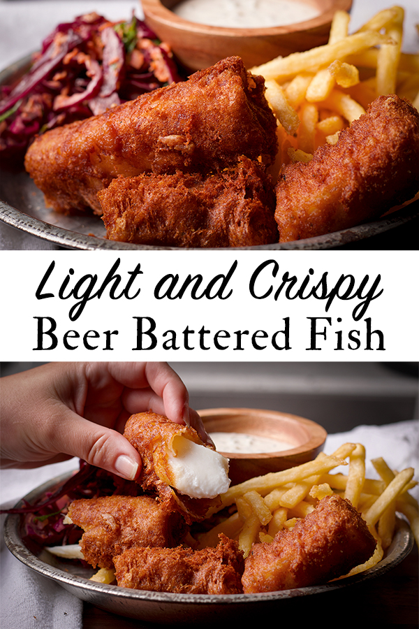 A plate of light and crispy beer battered fried fish.