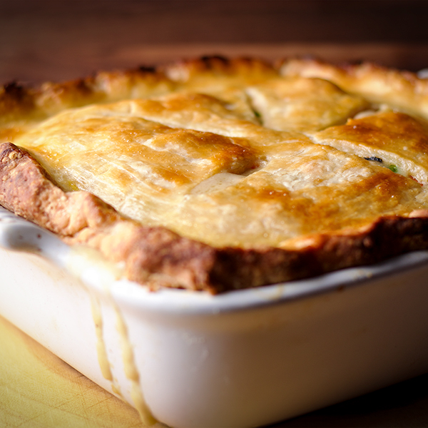 A freshly baked classic double crust chicken pot pie.