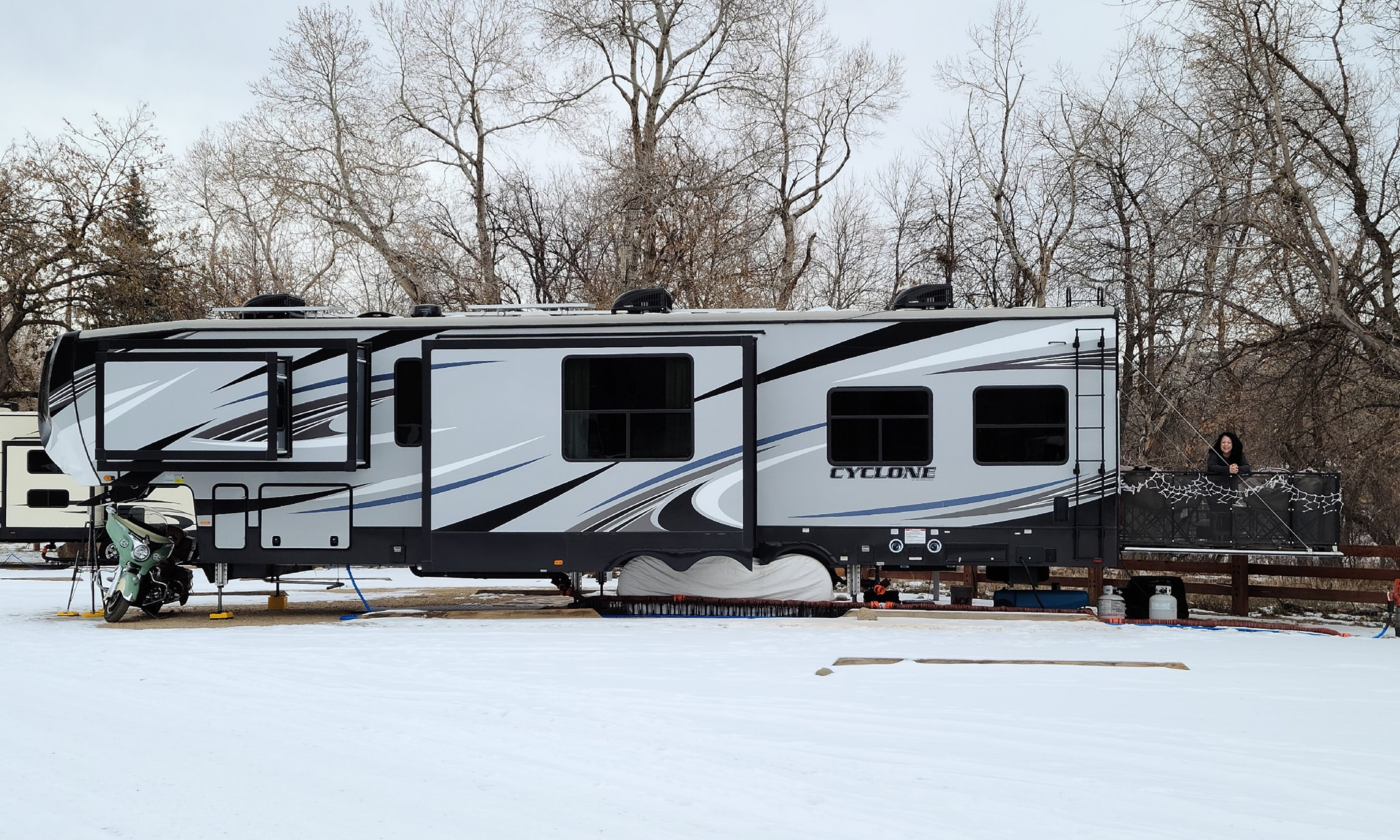 Our RV, parked in Lyons, Colorado in December