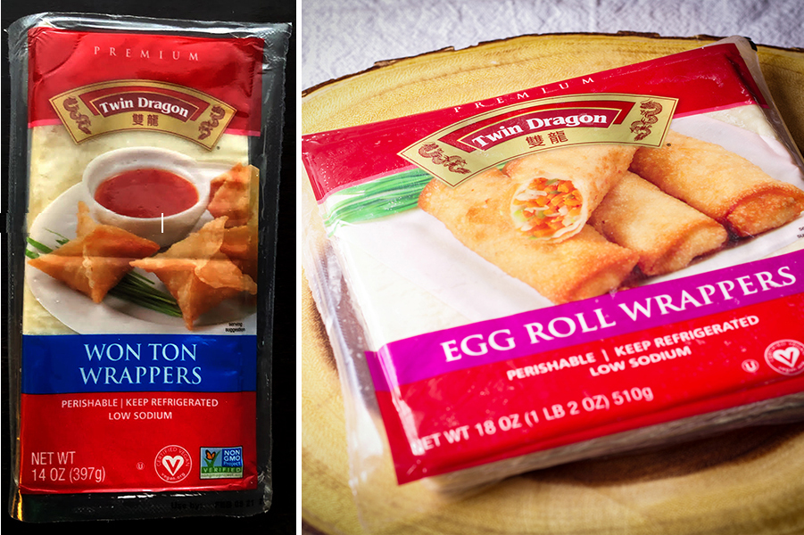 A package of Twin Dragon Wonton Wrappers and Egg Roll Wrappers.