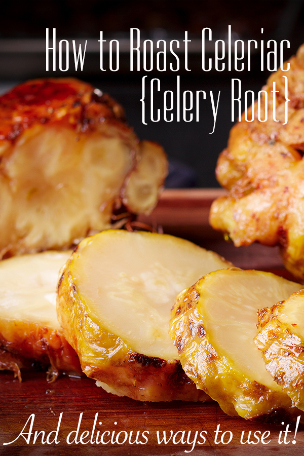 Slices of a whole roasted celery root on a cutting board.