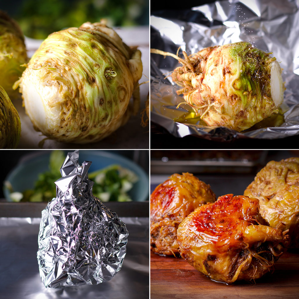 Four photos showing the process of roasting a celery root: Clean the celery root, sprinkle with olive oil and salt, wrap in foil, roast until caramelized.