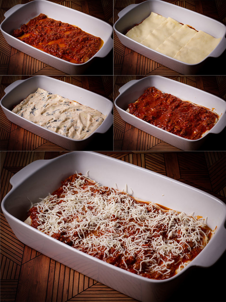 Step by step photos showing how to layer lasagna bolognese into a baking dish.