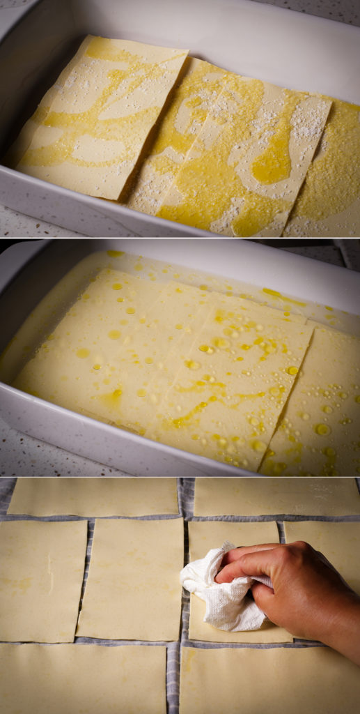 Three photos showing how to soak no-boil lasagna noodles in hot water, olive oil, and salt, then pat dry before using to make lasagna.